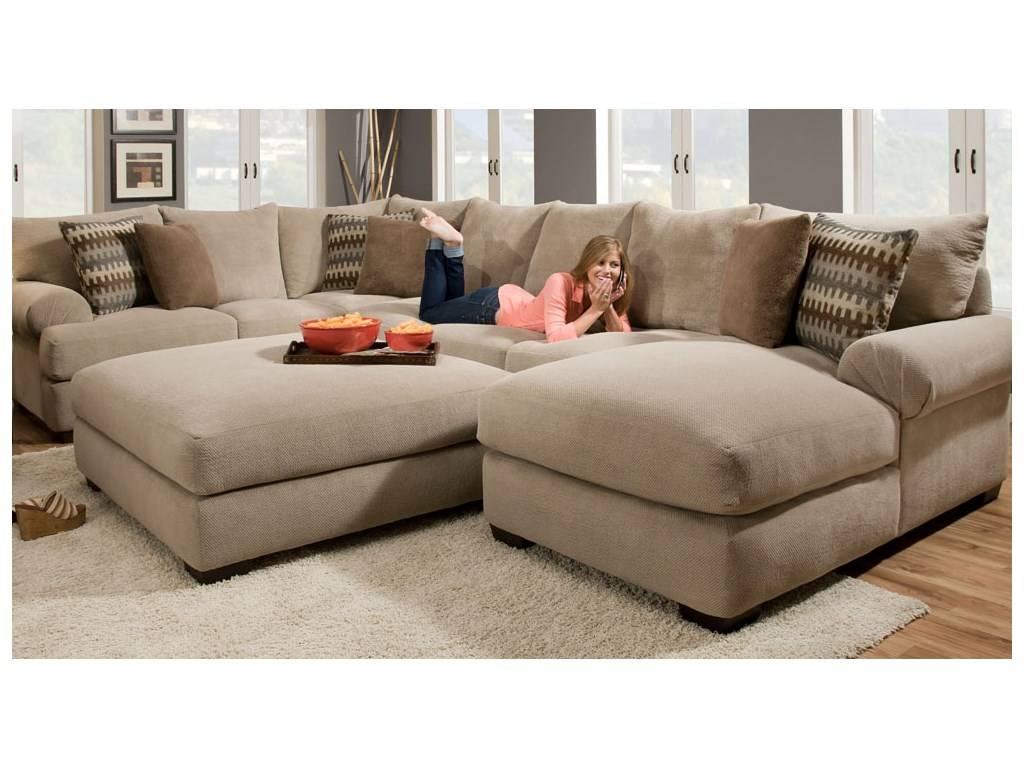 Cheap Sectional Sofas With Ottoman. Elegant Dark U Shaped Couch For Armless Sectional Sofas (Photo 14 of 30)