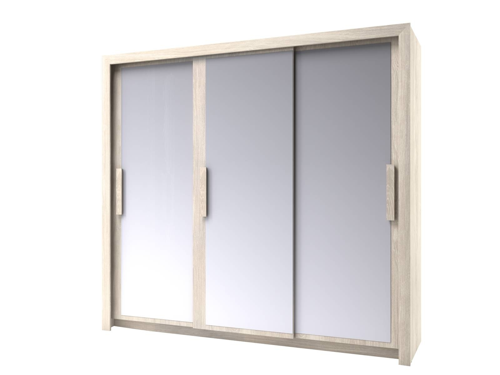 Chenin 3 Door Mirrored Wardrobe (Light Oak) | All Ranges | Cousins inside 3 Door Mirrored Wardrobes (Image 6 of 15)