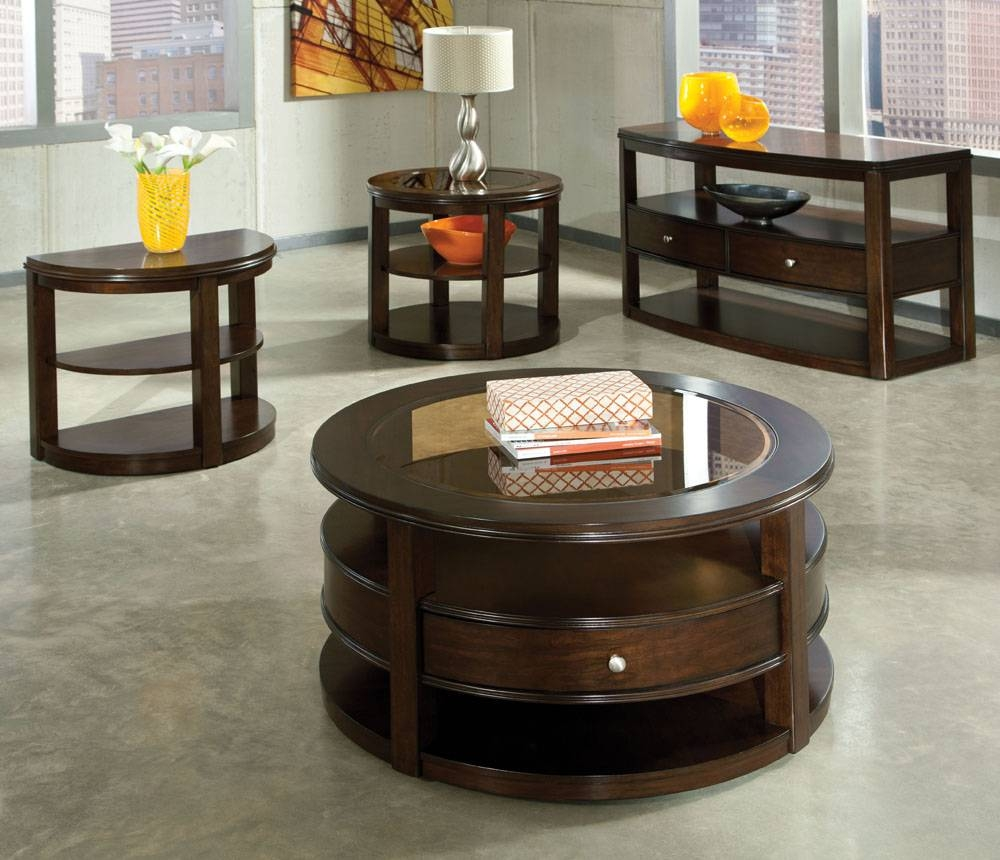 Cherry Round Coffee Table | Coffee Tables Decoration within Cherry Wood Coffee Table Sets (Image 7 of 30)
