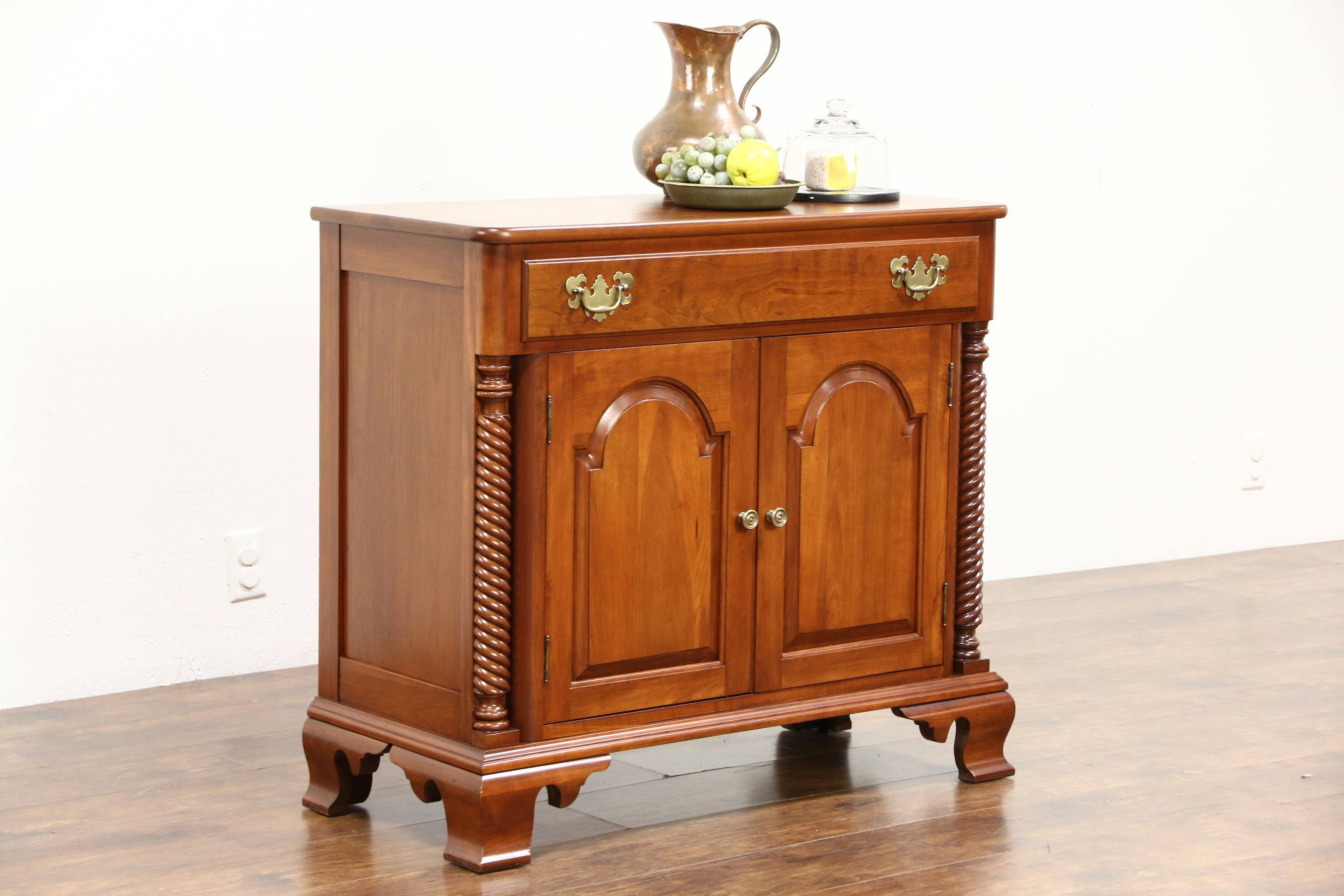 Cherry Small Vintage Sideboard, Server Or Console Cabinet, Signed throughout Small Sideboard Cabinets (Image 5 of 30)
