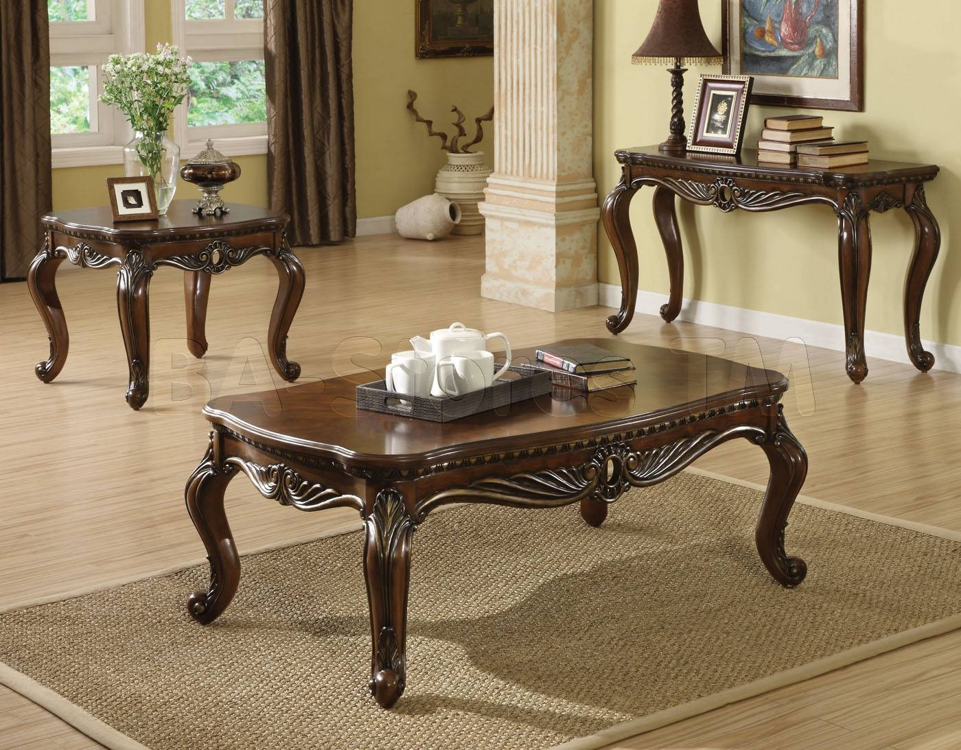 Cherry Wood Coffee Table And End Tables | Coffee Tables Decoration inside Coffee Table With Matching End Tables (Image 6 of 30)