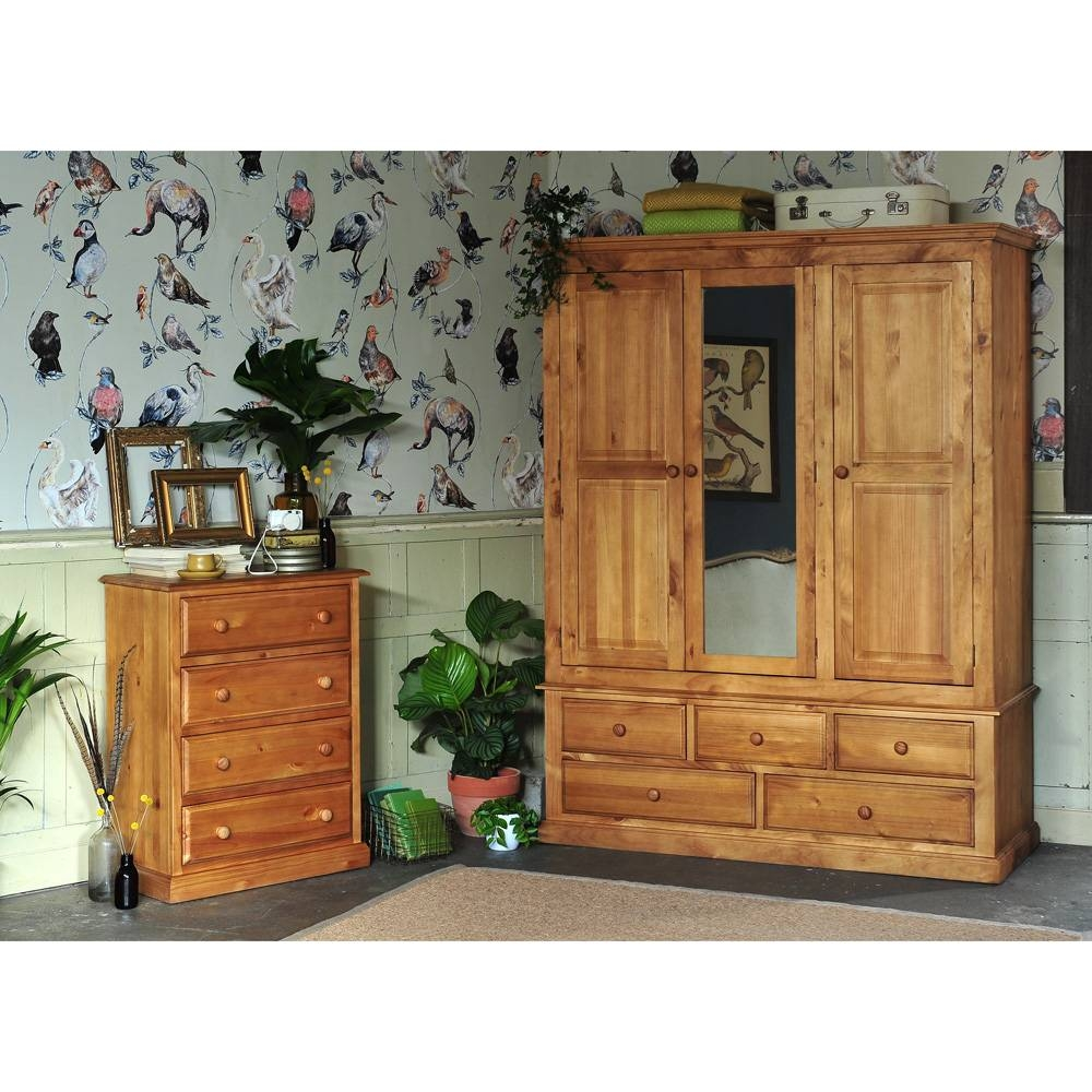 Cheshire Pine Triple Wardrobe Including Free Delivery (240.016 pertaining to Single Pine Wardrobes With Drawers (Image 6 of 15)