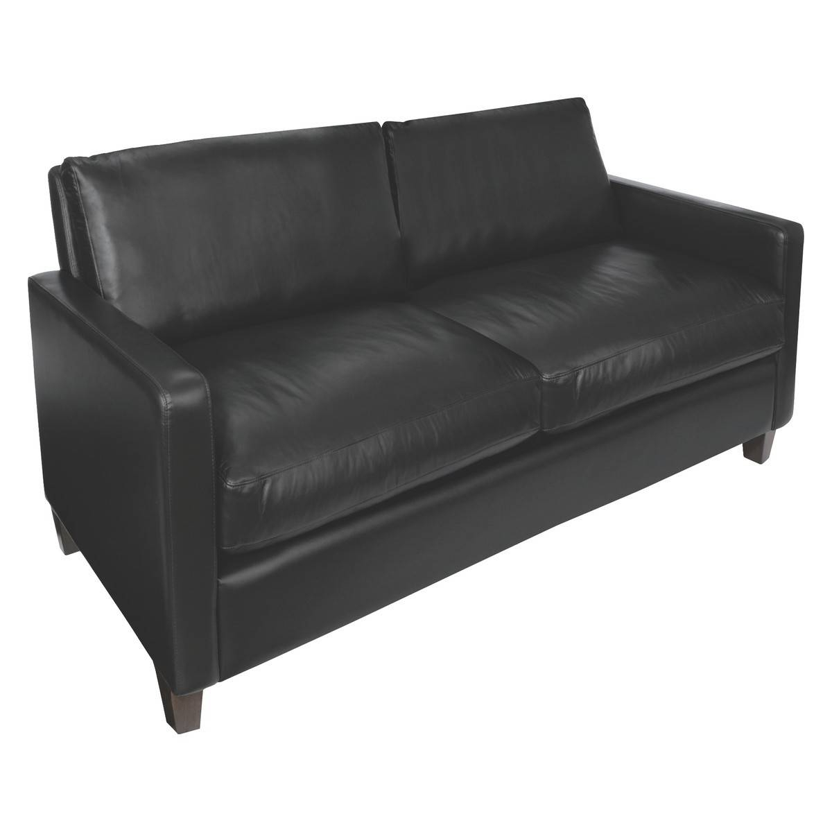 Chester Black Leather 2 Seater Sofa, Dark Stained Feet | Buy Now pertaining to Black 2 Seater Sofas (Image 10 of 30)