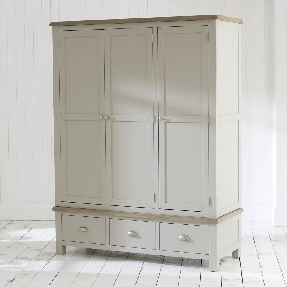 Chester Grey Painted 3 Door 3 Drawer Triple Wardrobe for Grey Painted Wardrobes (Image 3 of 15)