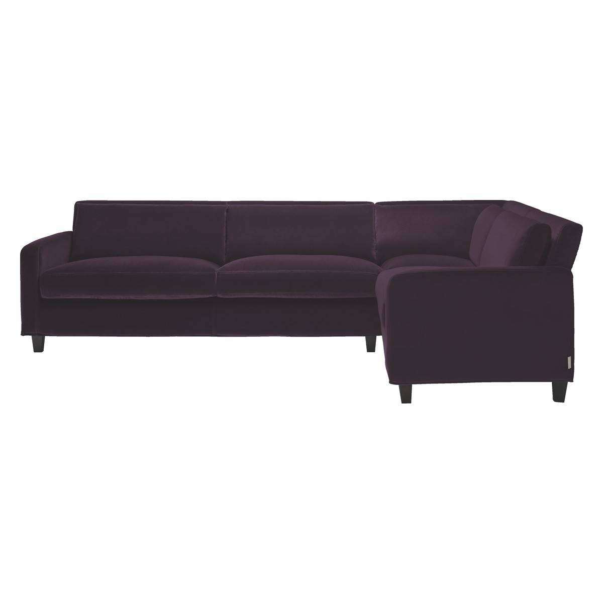 Chester Purple Velvet Left-Arm Corner Sofa, Dark Stained Feet regarding Velvet Purple Sofas (Image 10 of 30)
