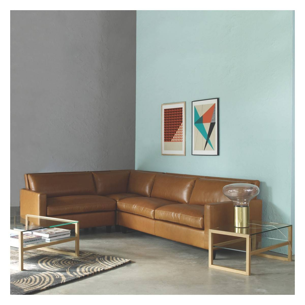 Chester Tan Leather Left-Arm Corner Sofa, Dark Stained Feet | Buy with Corner Sofa Leather (Image 5 of 30)