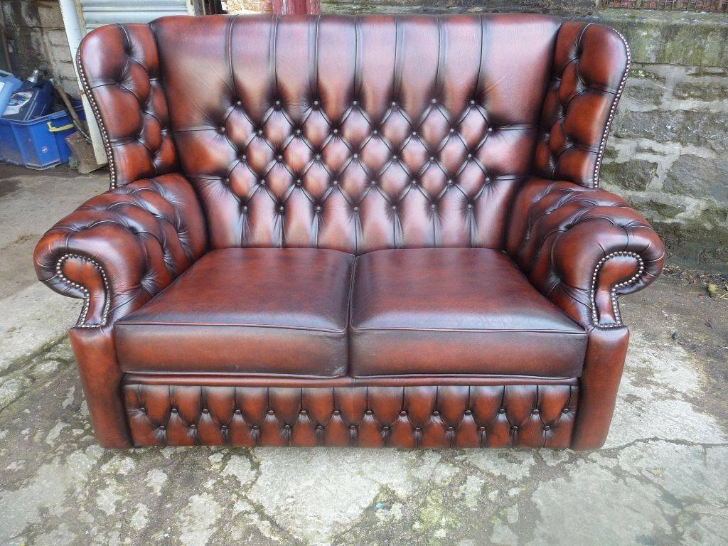Chesterfield 2 Seater Sofa In Antique Chestnut Brown (Canterbury regarding Canterbury Leather Sofas (Image 11 of 30)