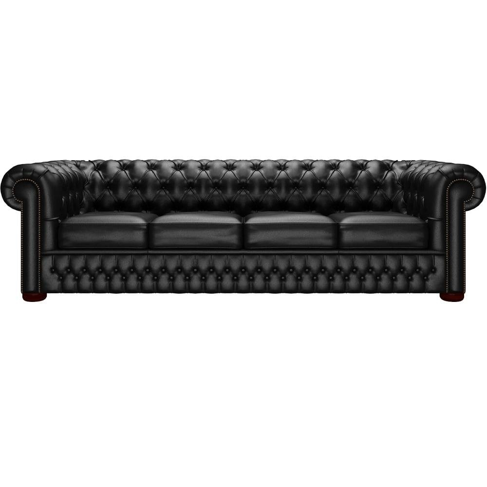 Chesterfield 4 Seater Sofa In Shelly Black - From Sofassaxon Uk with Four Seat Sofas (Image 11 of 30)