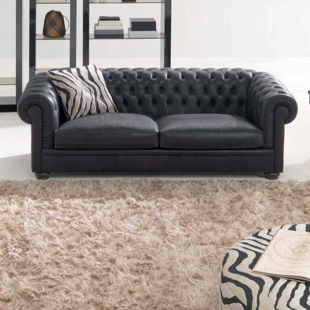 Chesterfield Sofa / Leather / 2-Seater / Black - King - Natuzzi regarding Leather Chesterfield Sofas (Image 5 of 30)