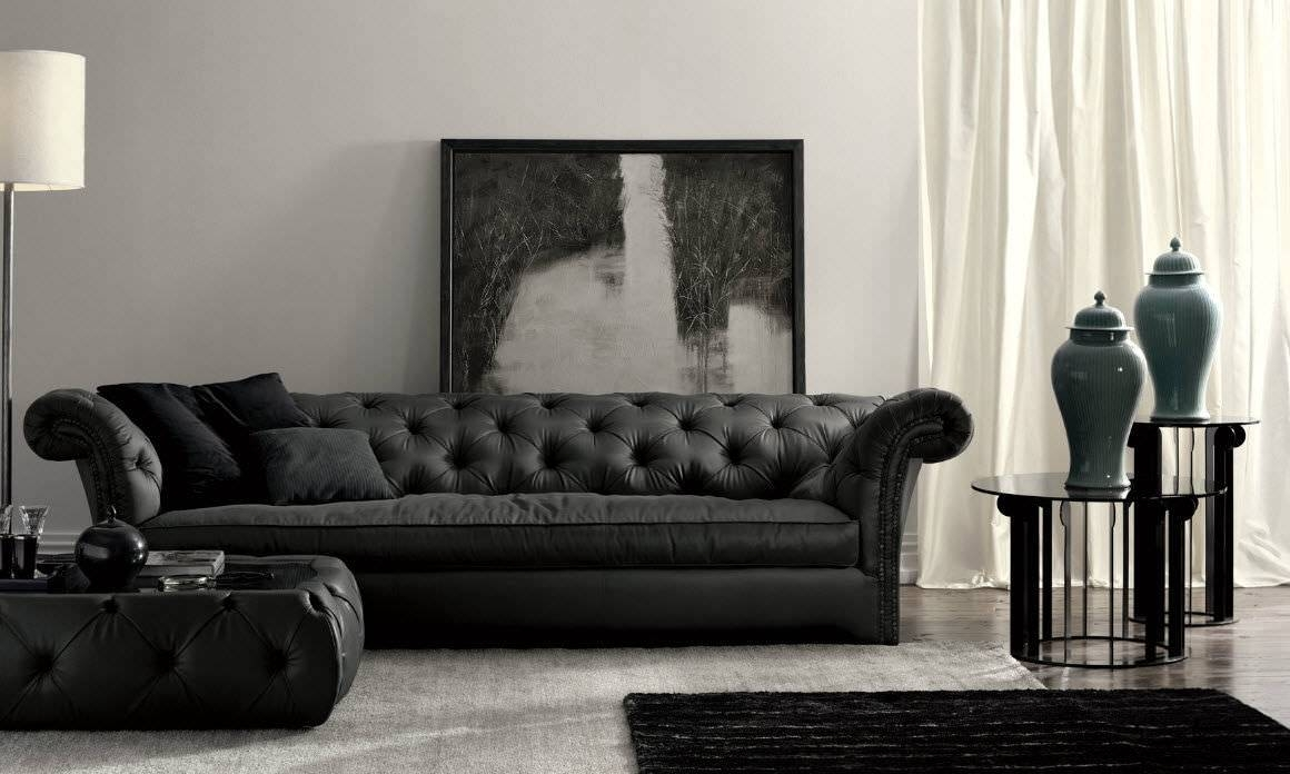 Chesterfield Sofa / Leather / 3-Seater / Black - Churchill Dh100 inside Chesterfield Black Sofas (Image 7 of 30)