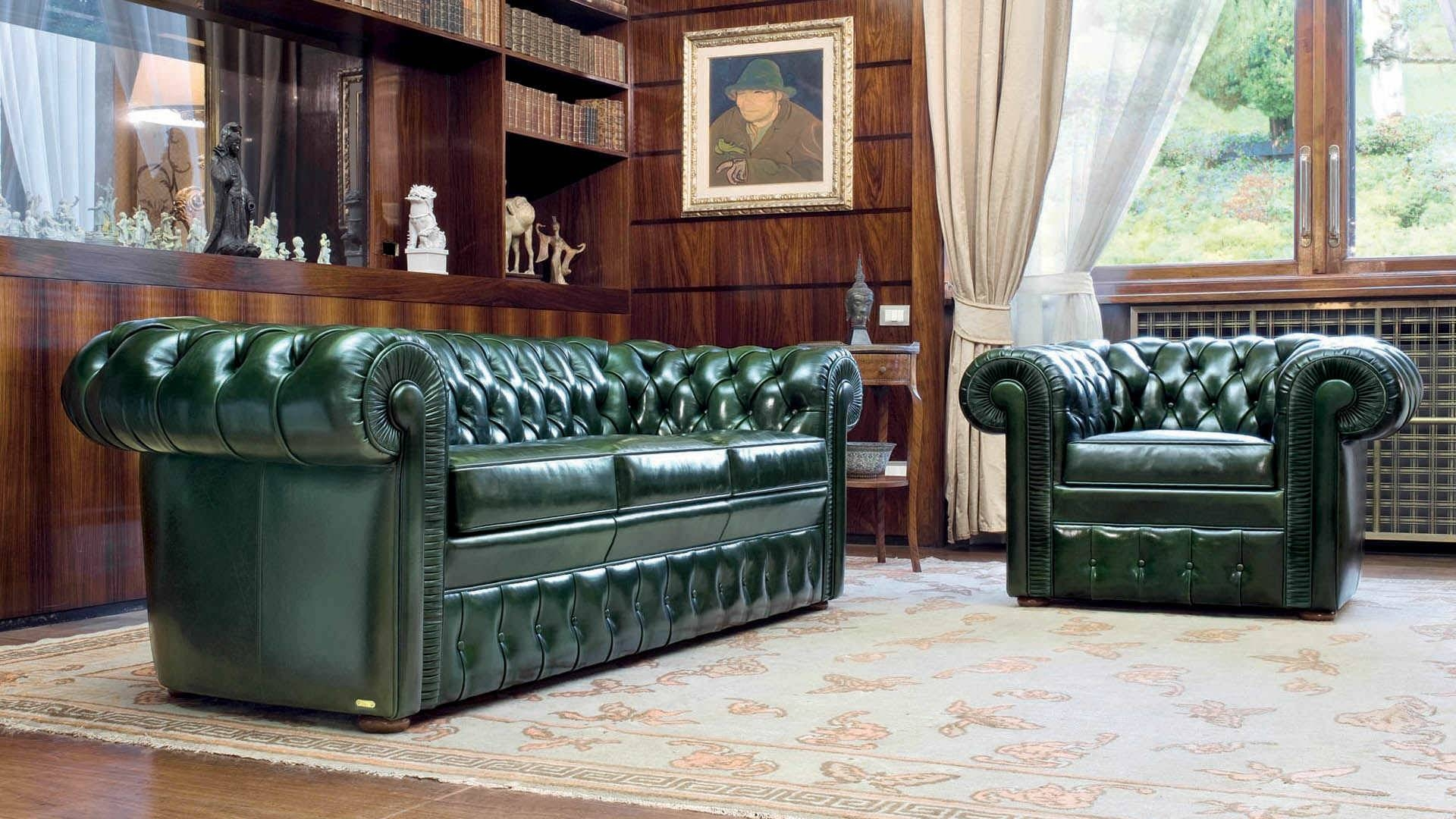Chesterfield Sofa / Leather / 3-Seater / Green - Lancaster intended for Leather Chesterfield Sofas (Image 7 of 30)