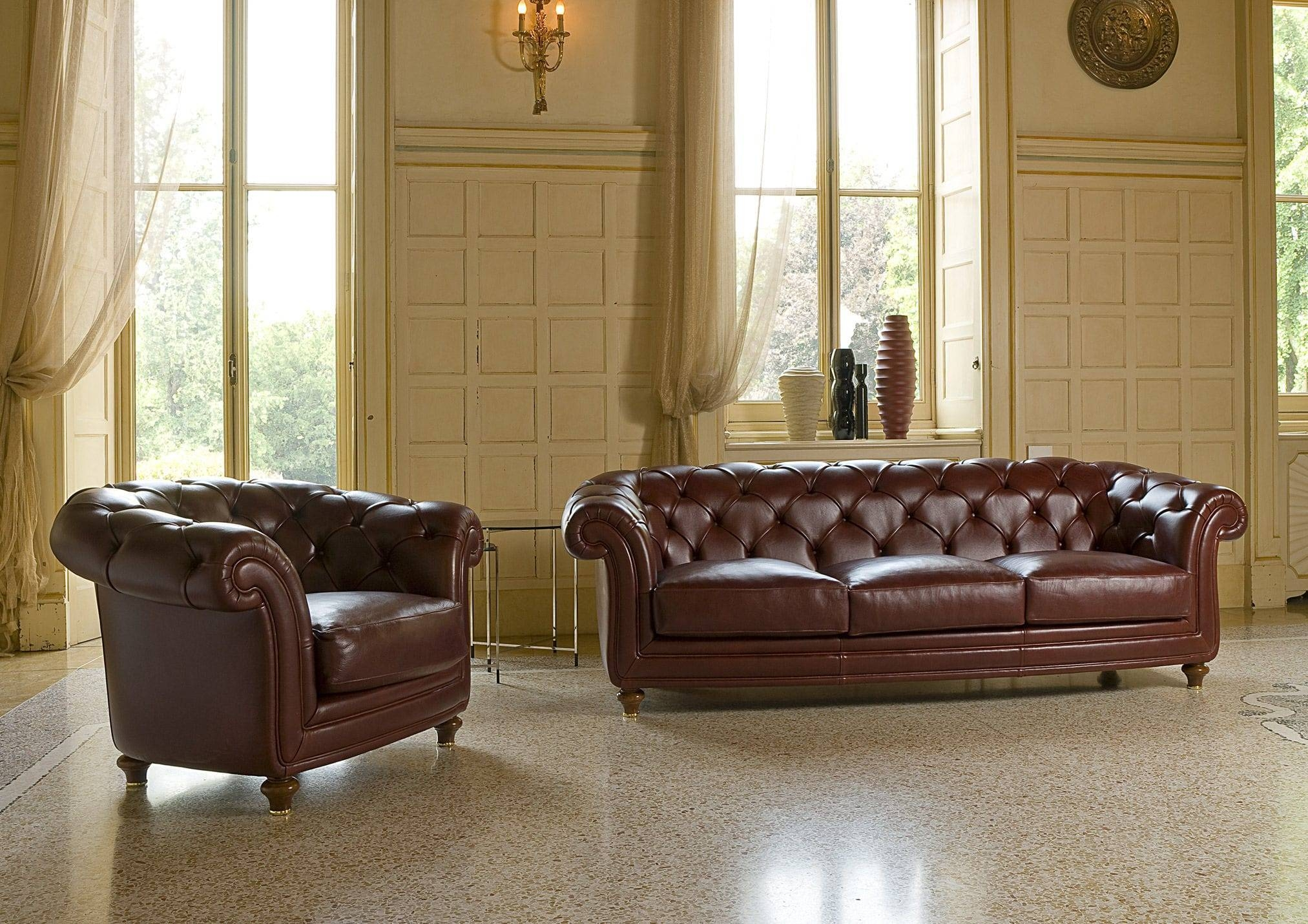 Chesterfield Sofa / Leather / Fabric / 3-Seater - Oxford - Berto in Oxford Sofas (Image 6 of 30)