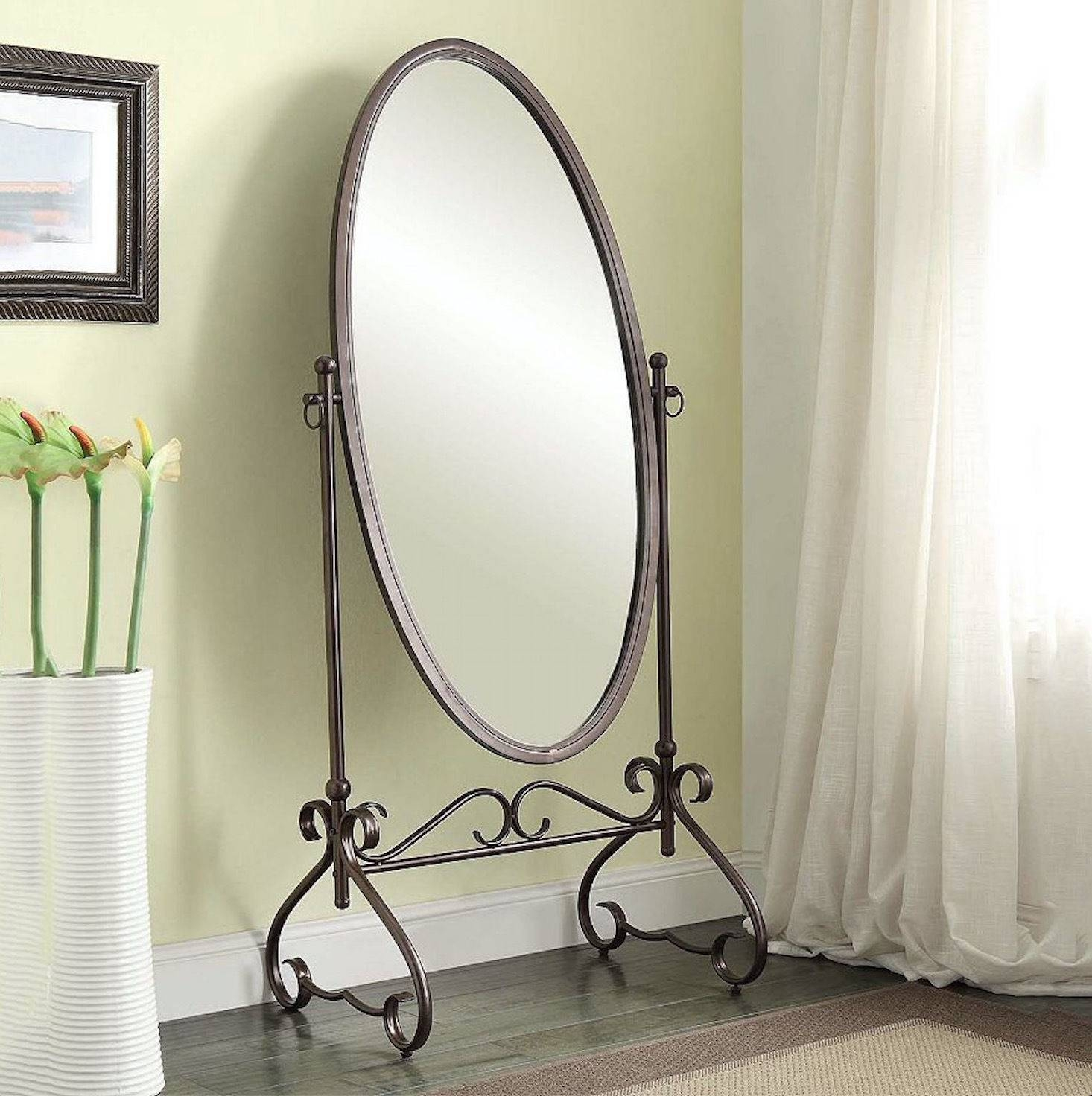 Cheval Floor Mirror Large Oval Antique Bedroom Full Length Tilt Within Oval Freestanding Mirrors (View 7 of 25)