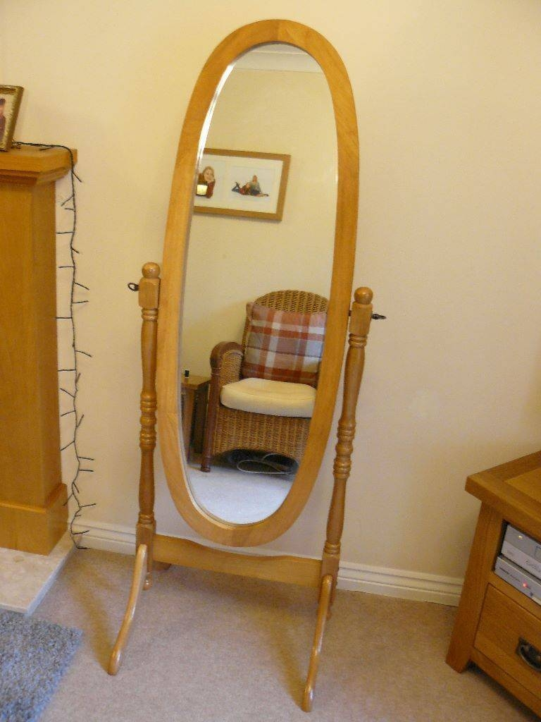 Cheval Mirror In Light Oak. Attractive Freestanding Full Length in Full Length Cheval Mirrors (Image 6 of 25)
