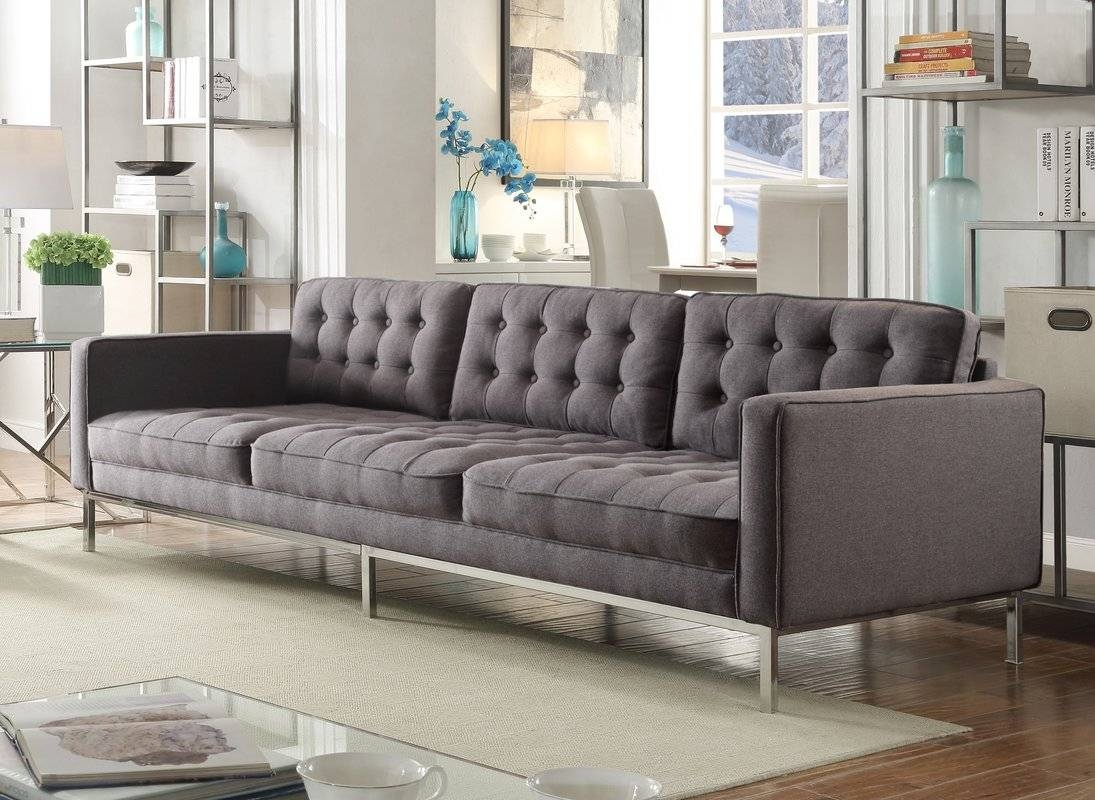 Chic Home Draper Linen Modern Contemporary Button Tufted Sofa inside Tufted Linen Sofas (Image 8 of 30)