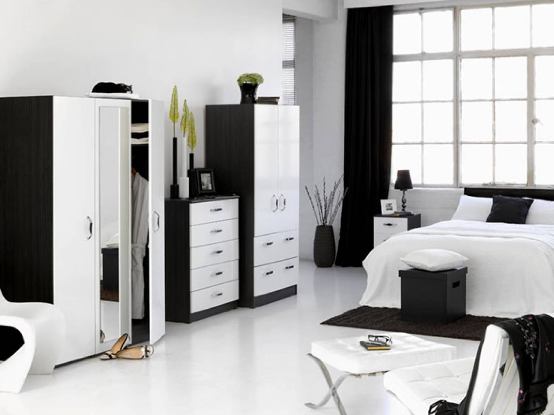 Chic Idea Black And White Furniture Modern Ideas And Bedroom Sets within Black And White Wardrobes Set (Image 8 of 15)