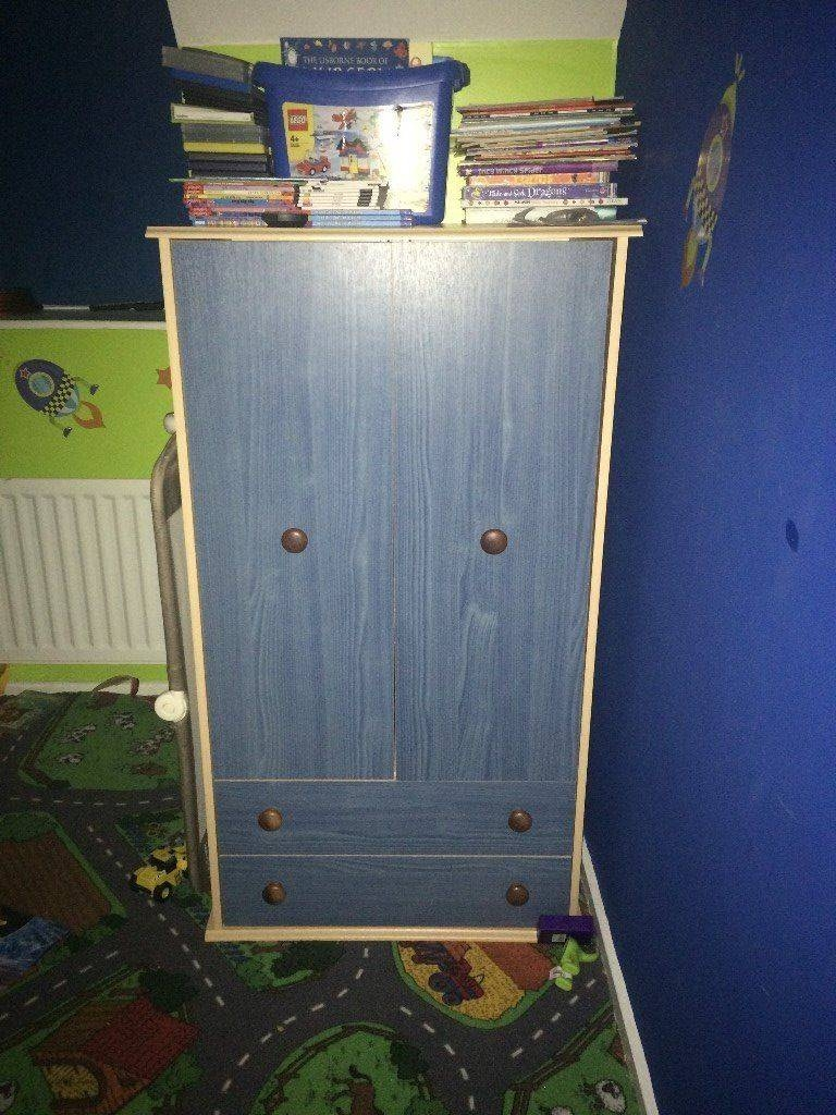 Childrens Blue/pine Tall Boy/wardrobe | In Brandon, County Durham within Childrens Tallboy Wardrobes (Image 6 of 15)