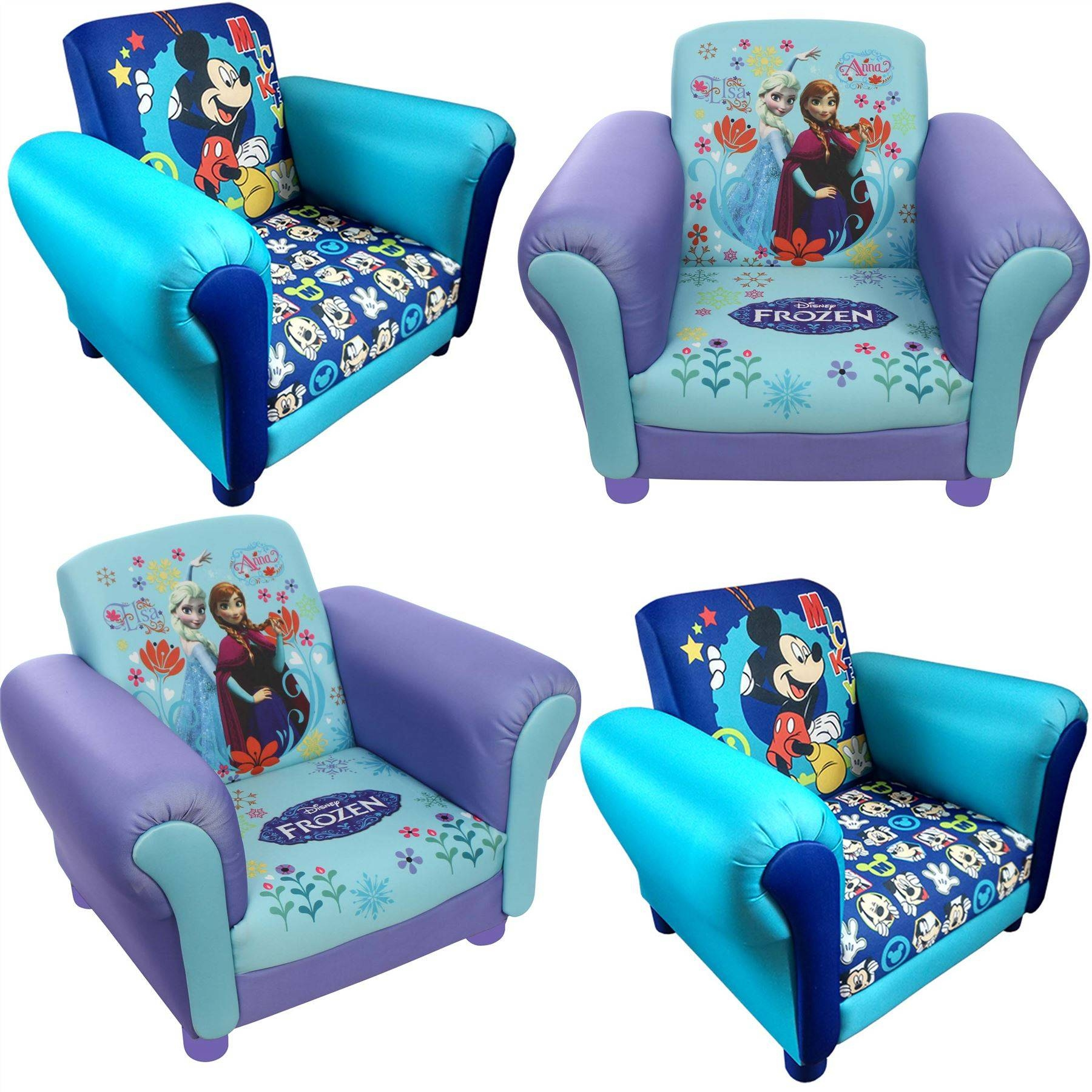 Childrens Disney Kids Frozen Anna & Elsa Mickey Mouse Cartoon with Disney Sofa Chairs (Image 2 of 15)