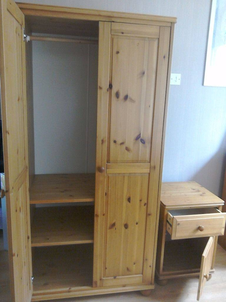 Children's Ikea Pine Wardrobe With Rail And 2 Adjustable Shelves with Pine Wardrobe With Drawers And Shelves (Image 7 of 30)