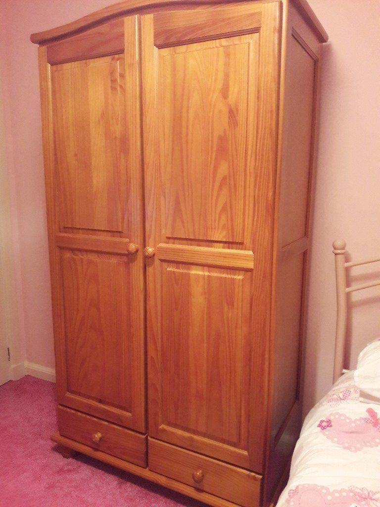 Children's Pine Wardrobe With 2 Drawers & Shelving - Price Just within Pine Wardrobe With Drawers And Shelves (Image 8 of 30)