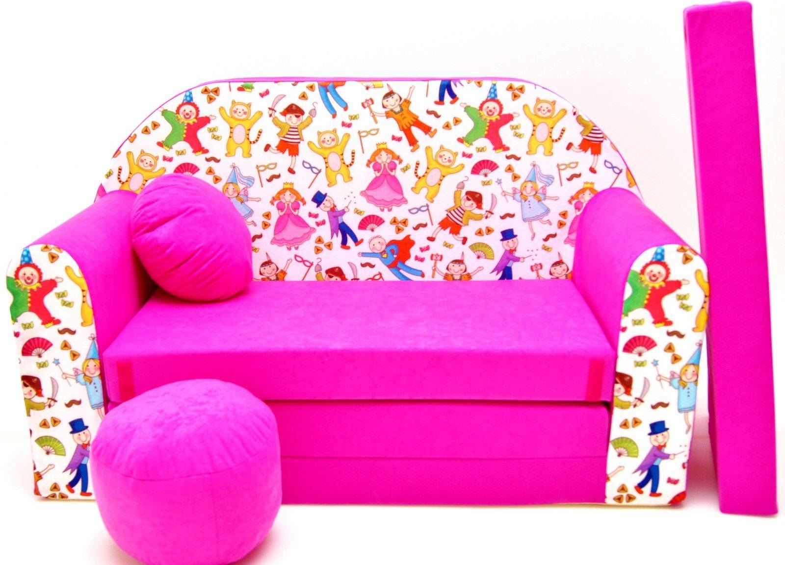 Childrens Sofa Bed, Fold Out Sofa Bed + Free Pillow And Pouffe throughout Footstool Pouffe Sofa Folding Bed (Image 4 of 25)