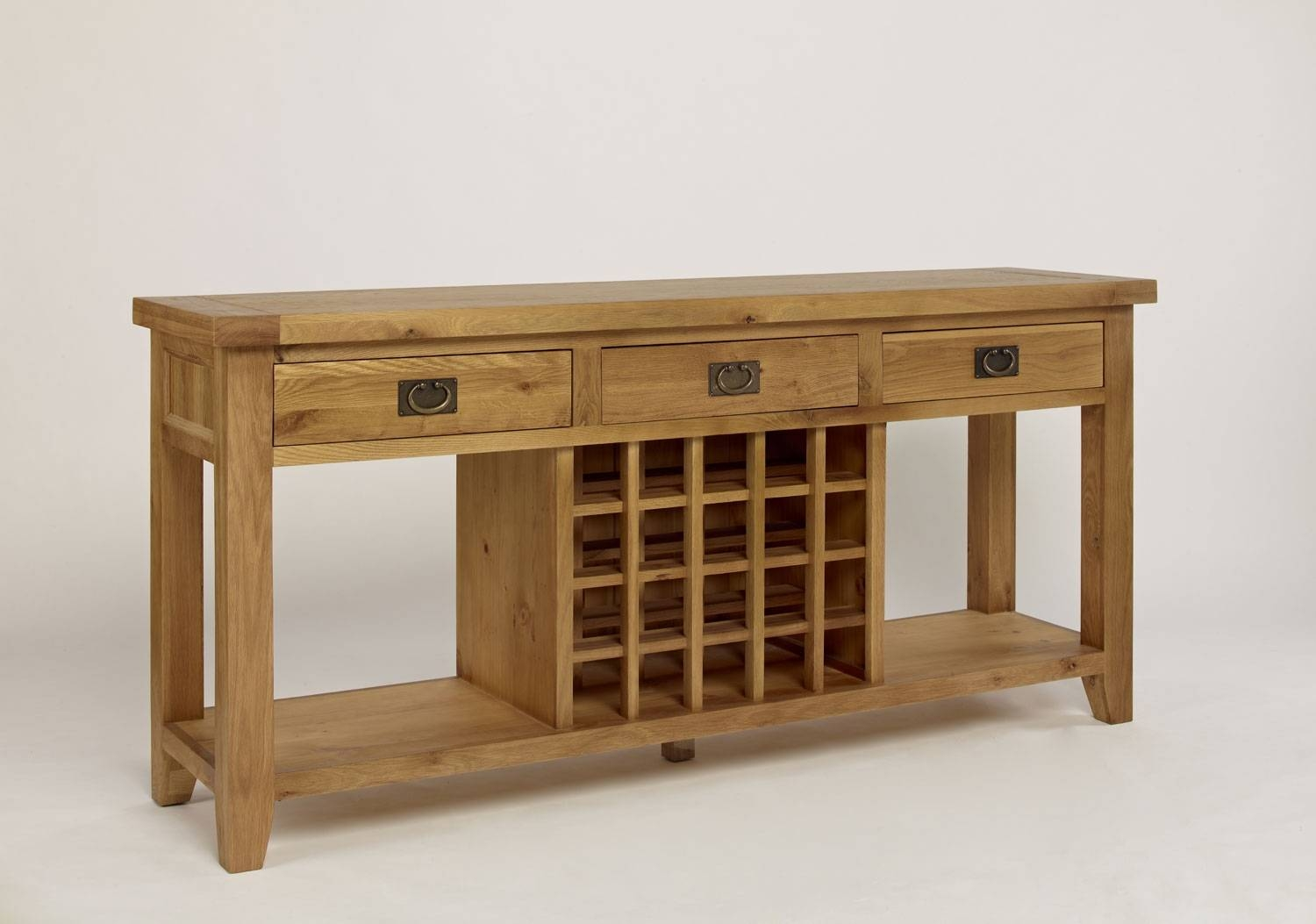 Chiltern Grand Oak 3 Drawer Wine Console Table with Oak Sideboards With Wine Rack (Image 5 of 30)