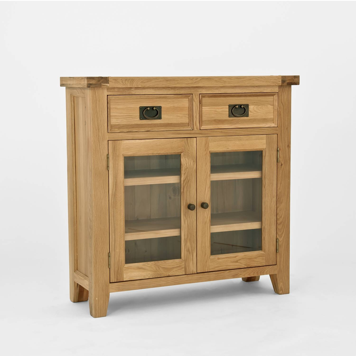 Chiltern Oak Small Sideboard/bookcase With Glass Doors throughout Narrow Oak Sideboards (Image 6 of 30)