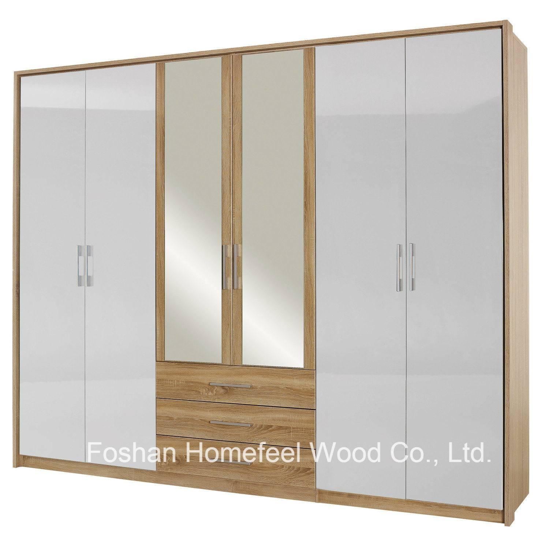 China Bedroom Mirrored Combination 6 Door Wardrobe With Side intended for 6 Door Wardrobes Bedroom Furniture (Image 6 of 15)