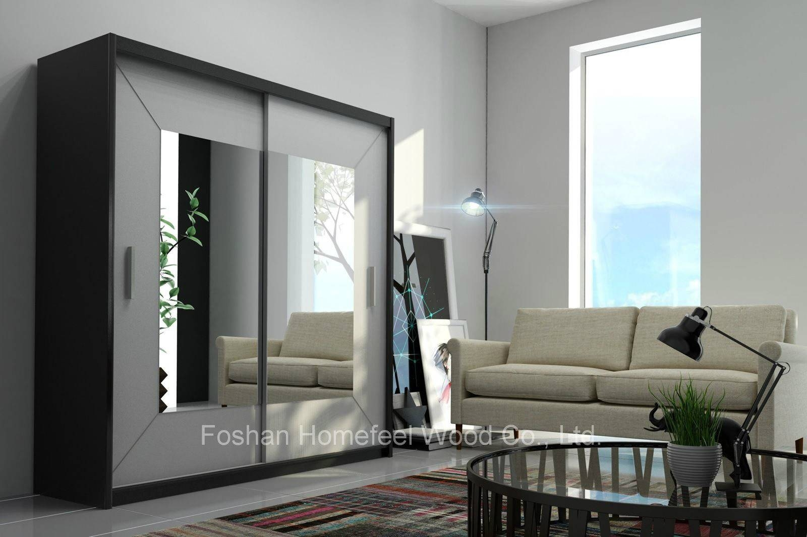 China Black Frame White Sliding Doors Wardrobe With Square Mirror throughout Black Wardrobes With Mirror (Image 8 of 15)