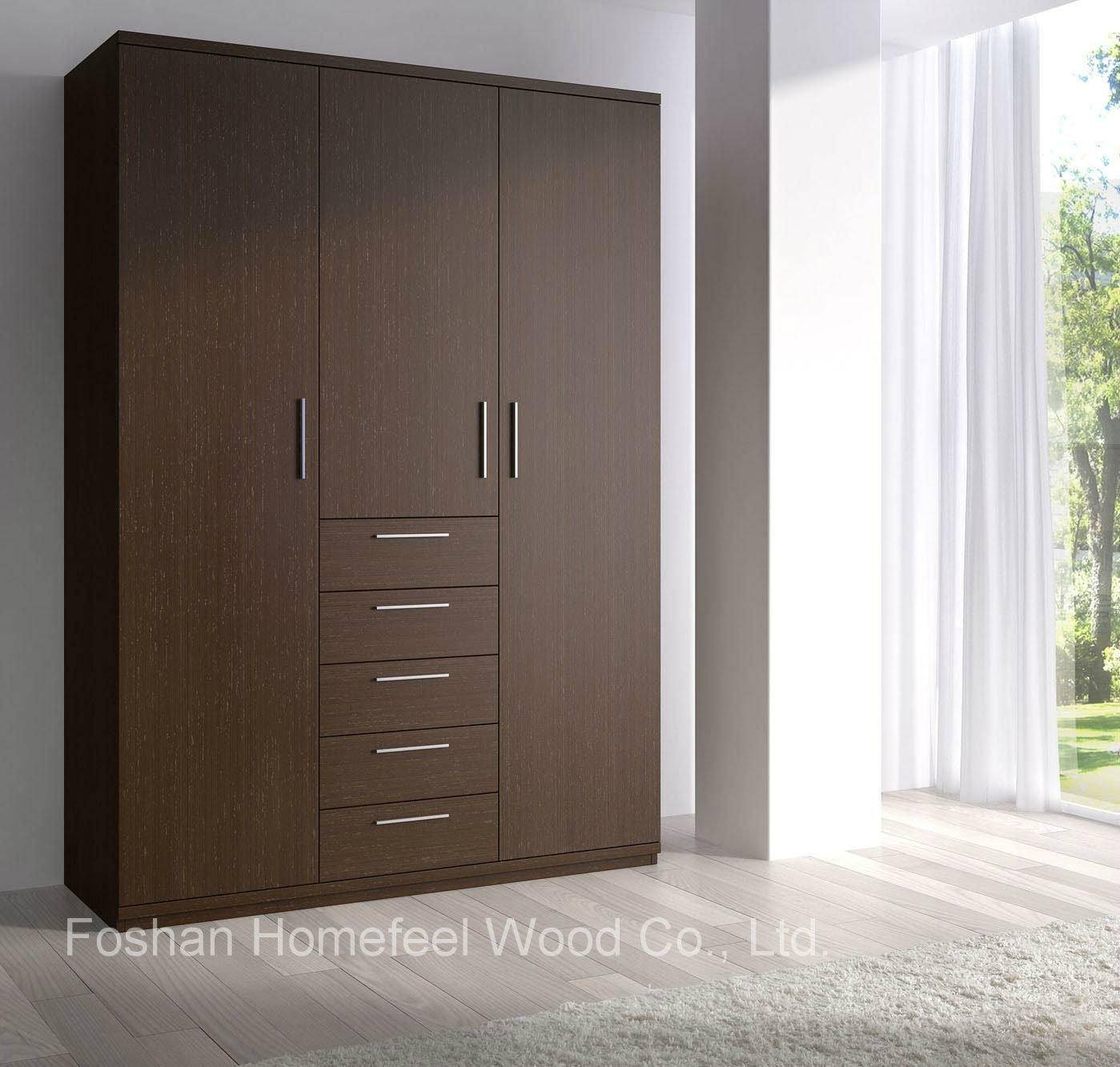 China Dark Brown Wooden Wardrobe With 3 Door Modern Furniture (Hf inside Dark Wood Wardrobes (Image 8 of 30)