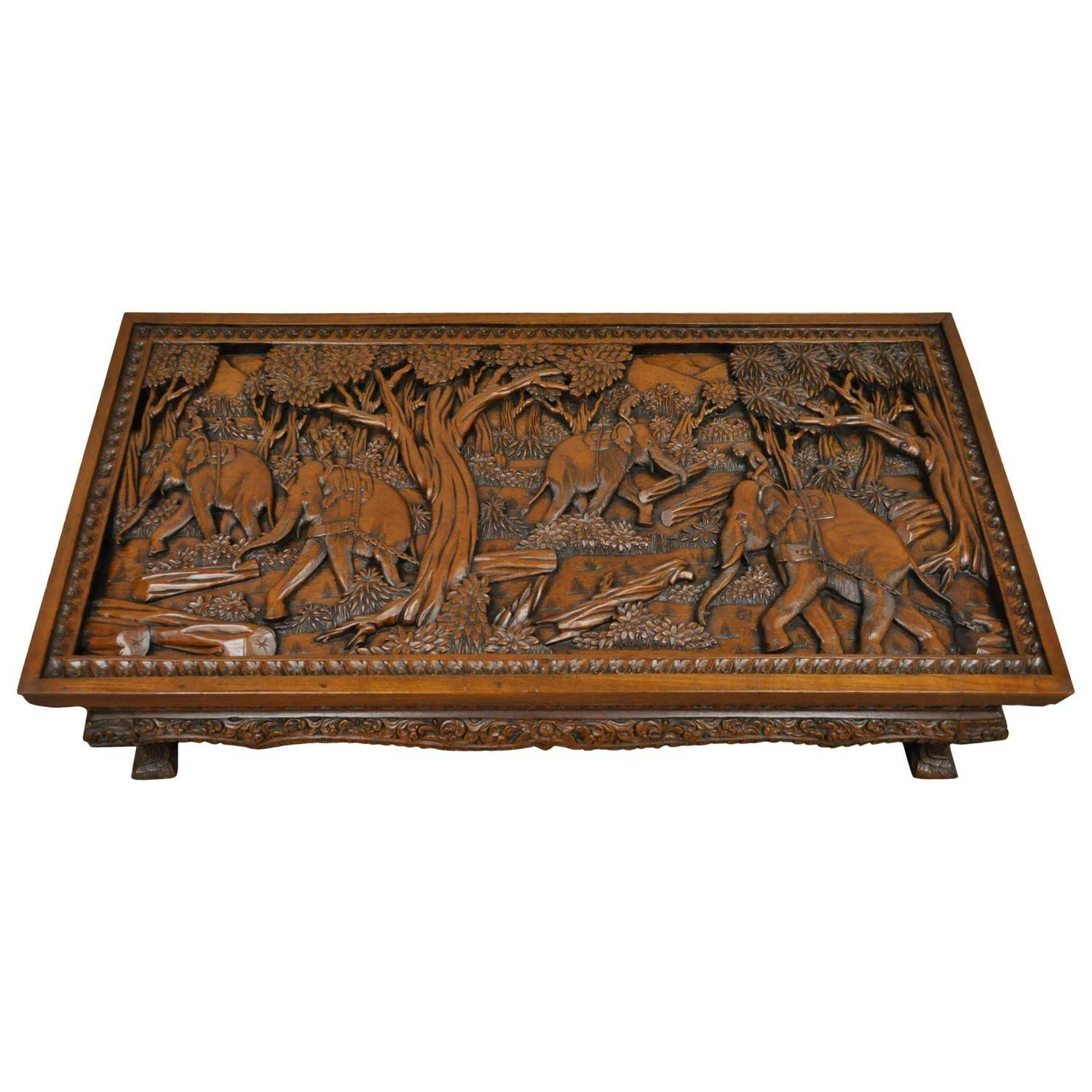 Chinese Oval Coffee Table With Hand Carved Battle Scene And Six In Coffee Table With Stools (View 4 of 30)
