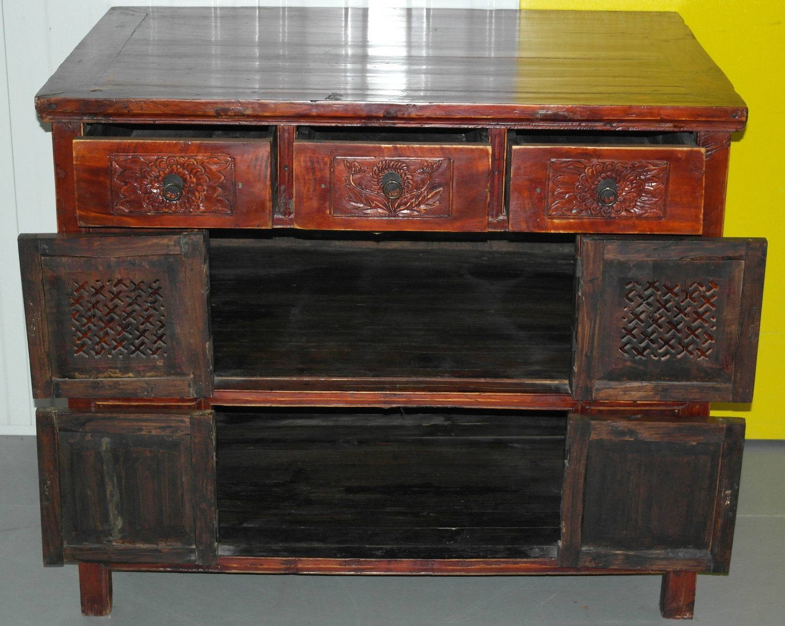 Chinese Redwood Antique Style Very Deep Sideboard Drawers intended for Chinese Sideboards (Image 12 of 30)