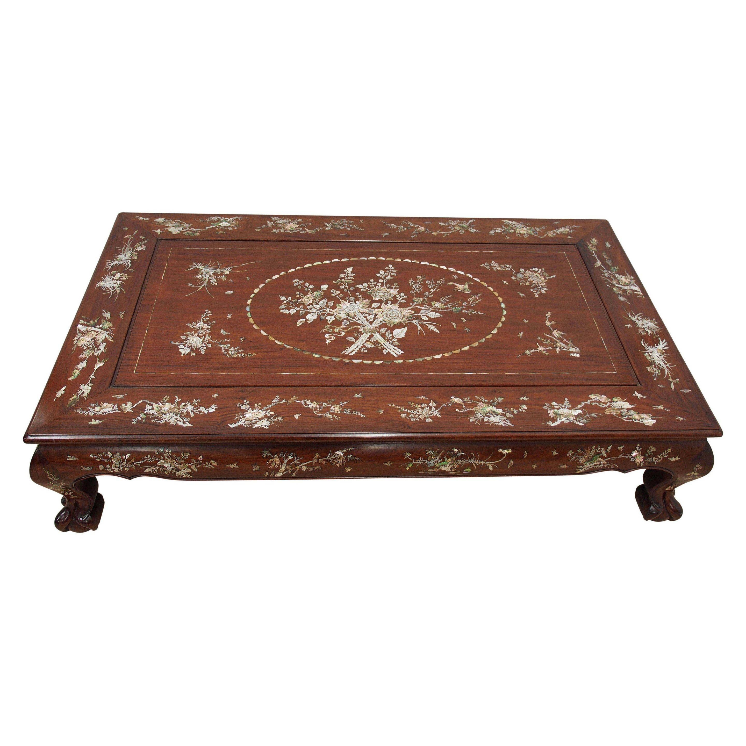 Chinese Rosewood And Mother Of Pearl Inlaid Coffee Table (20Th throughout Mother Of Pearl Coffee Tables (Image 5 of 30)