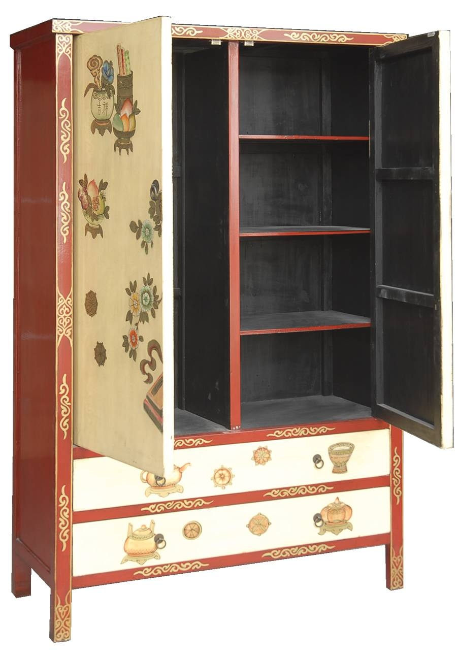 Chinese Style Hand Painted Wardrobe In Cream pertaining to Chinese Wardrobes (Image 3 of 15)