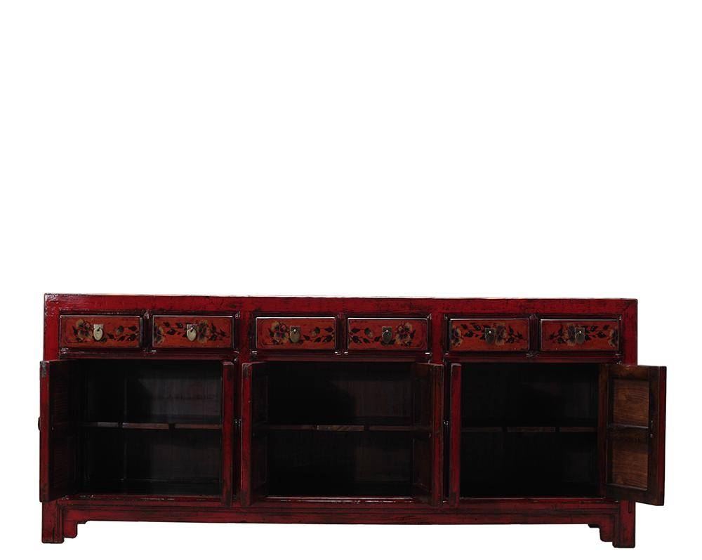 Chinese Wooden Vintage Hand Painted Rustic Sideboard Cabinet with regard to Chinese Sideboards (Image 14 of 30)