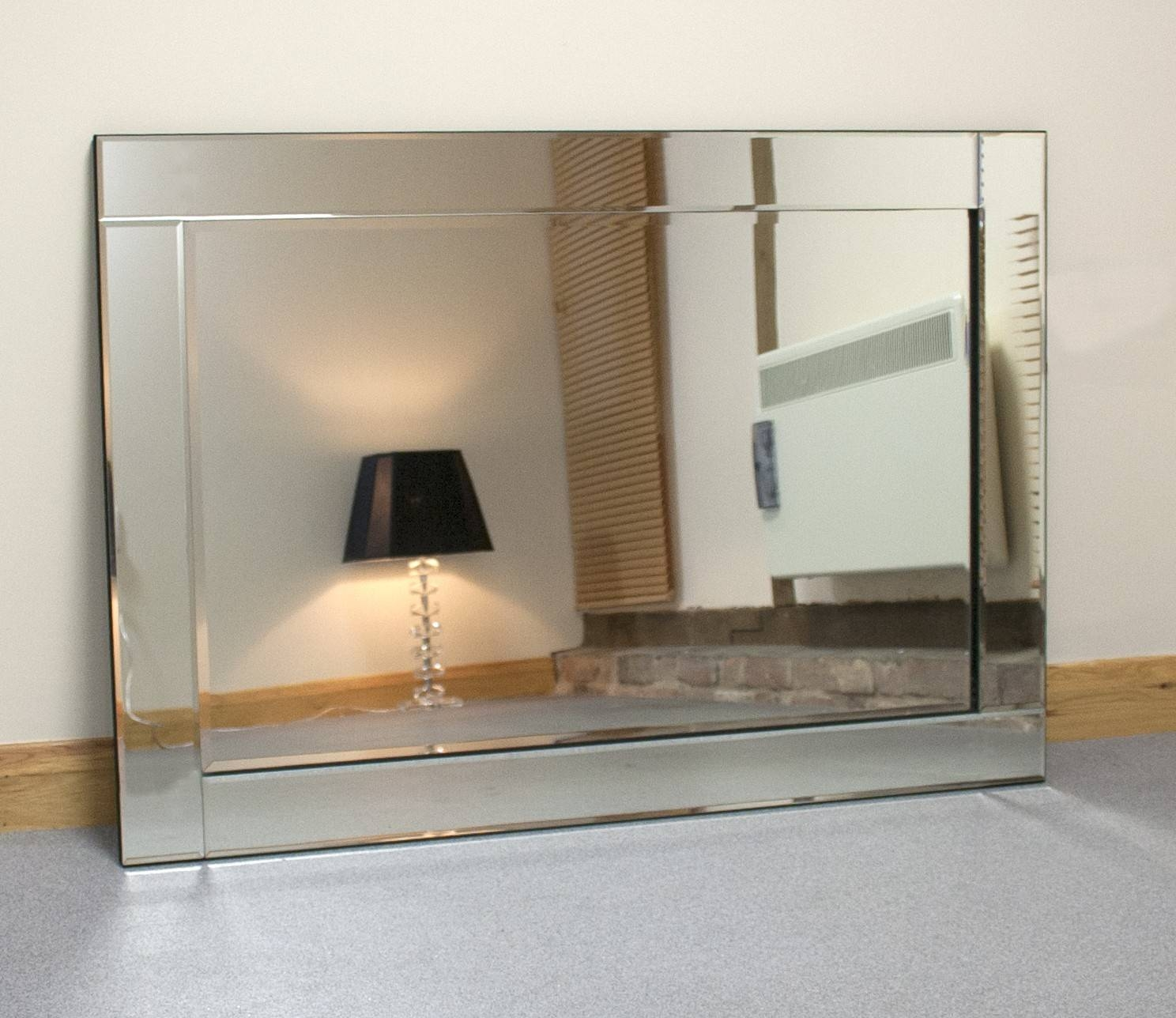 Chloe Large Silver Glass Framed Rectangle Bevelled Wall Mirror 48 Inside Large Glass Bevelled Wall Mirrors (View 3 of 25)