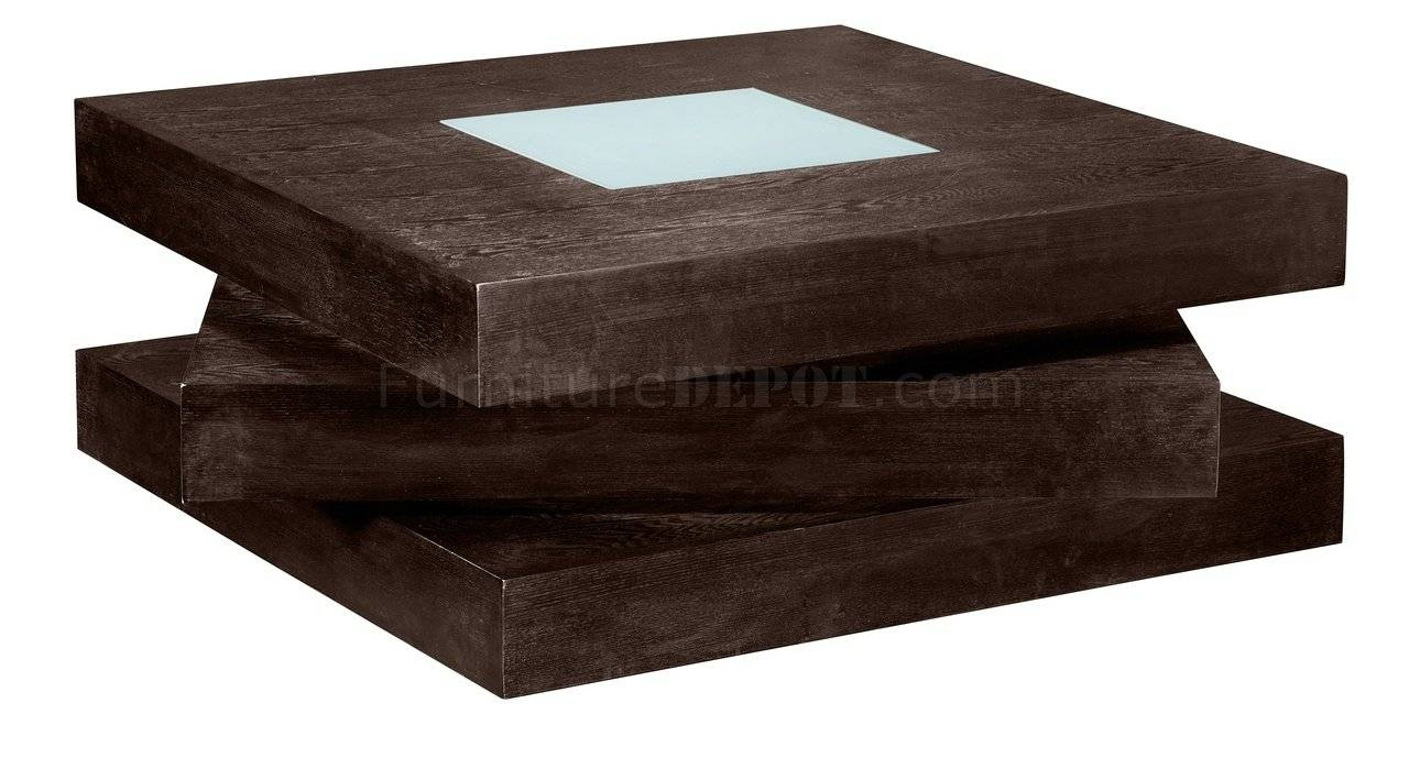 Chocolate Finish Square Shape Modern Coffee Table W/glass Inlay Pertaining To Square Shaped Coffee Tables (View 2 of 30)