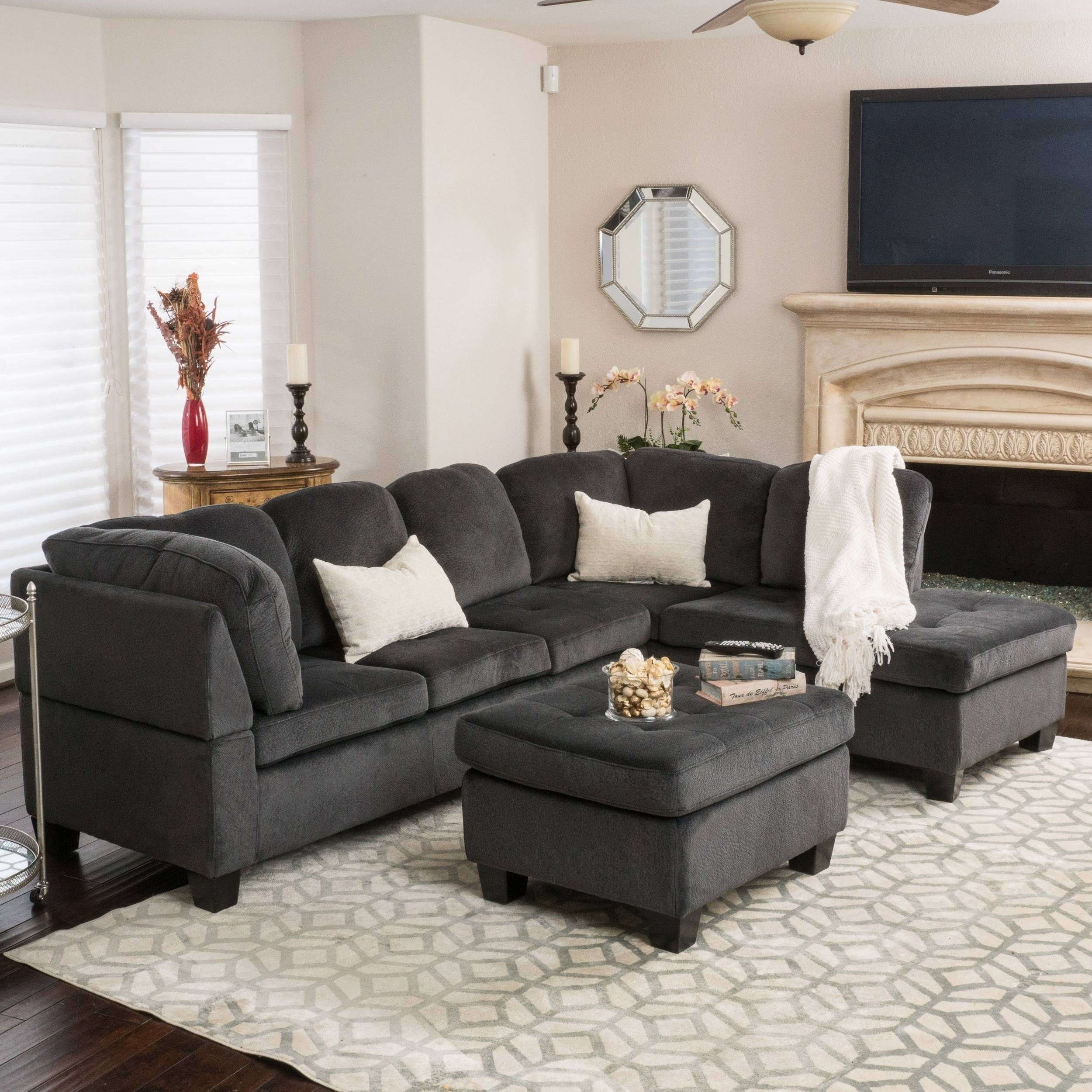 Christopher Knight Home Canterbury 3-Piece Fabric Sectional Sofa with regard to Canterbury Leather Sofas (Image 12 of 30)