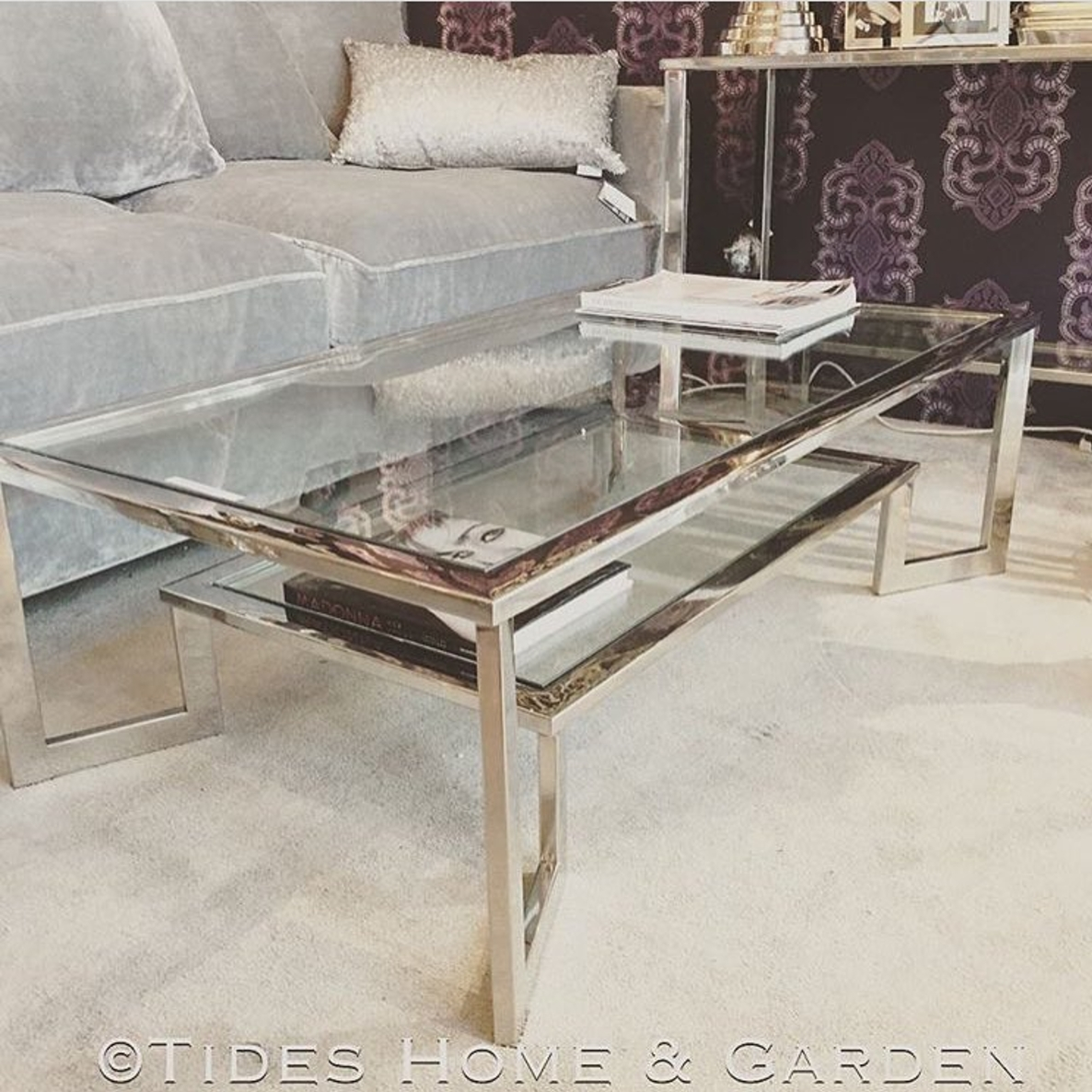 Chrome And Glass Dual Level Coffee Table Throughout Chrome Coffee Tables (View 4 of 30)