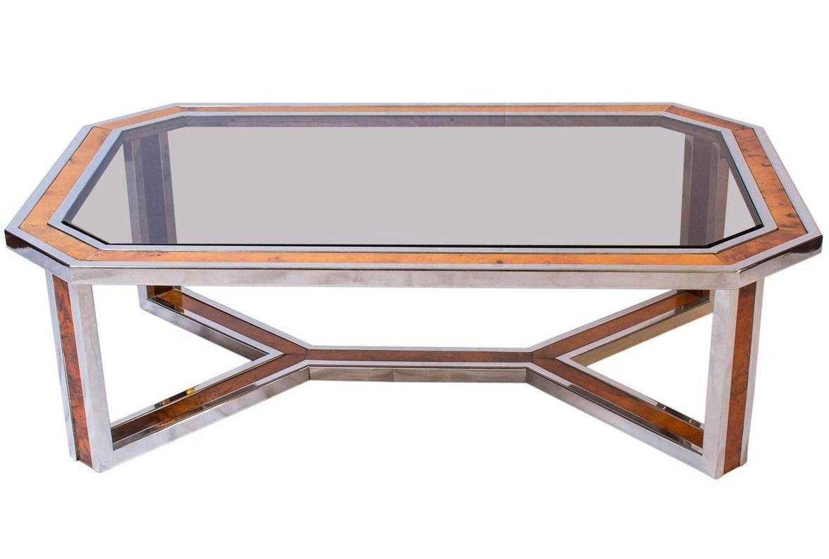 Chrome And Wood Coffee Table Furniture | Roy Home Design With Regard To Chrome And Wood Coffee Tables (View 6 of 30)