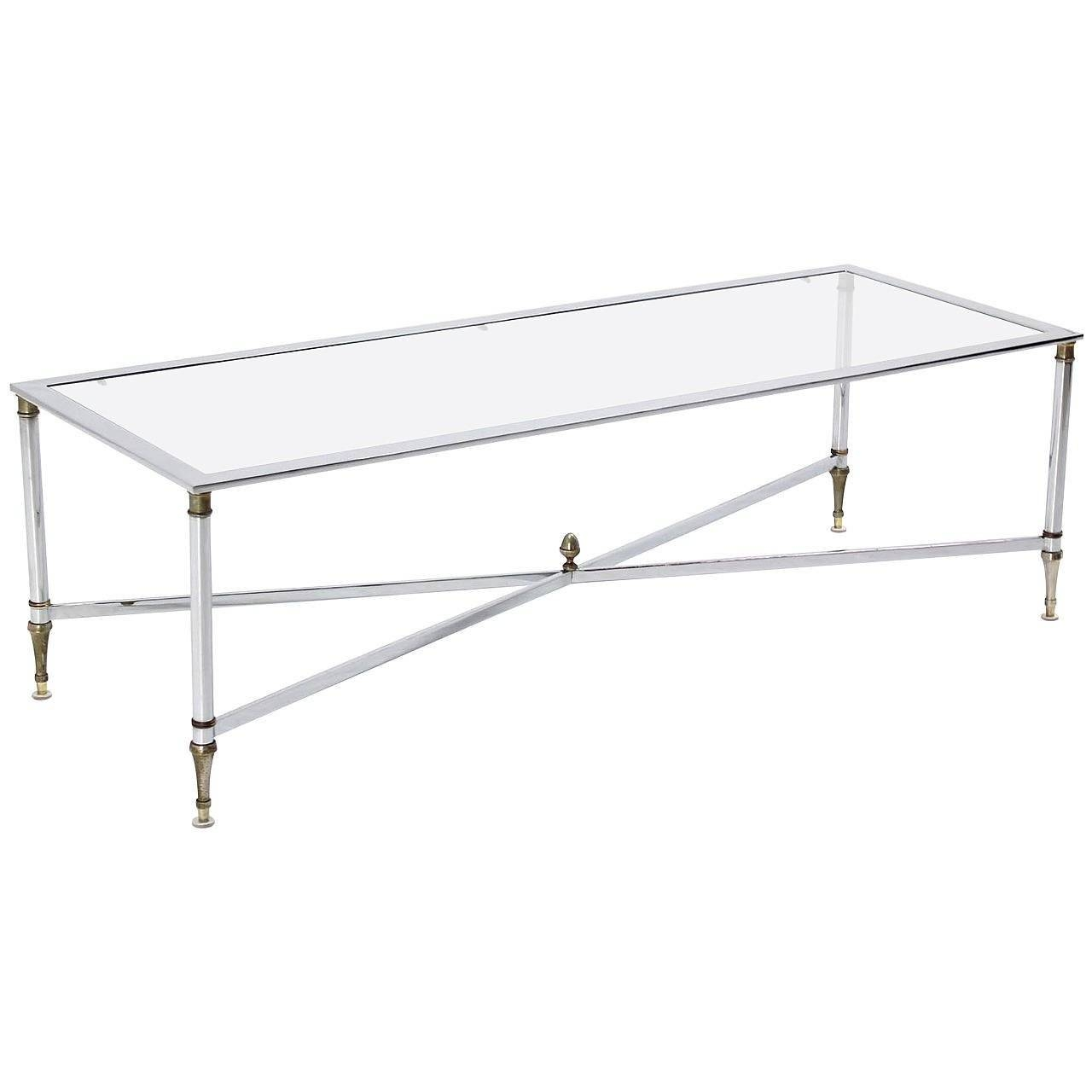 Chrome Brass X Base Glass Top Long Rectangle Coffee Table For Sale inside Rectangle Glass Chrome Coffee Tables (Image 4 of 30)