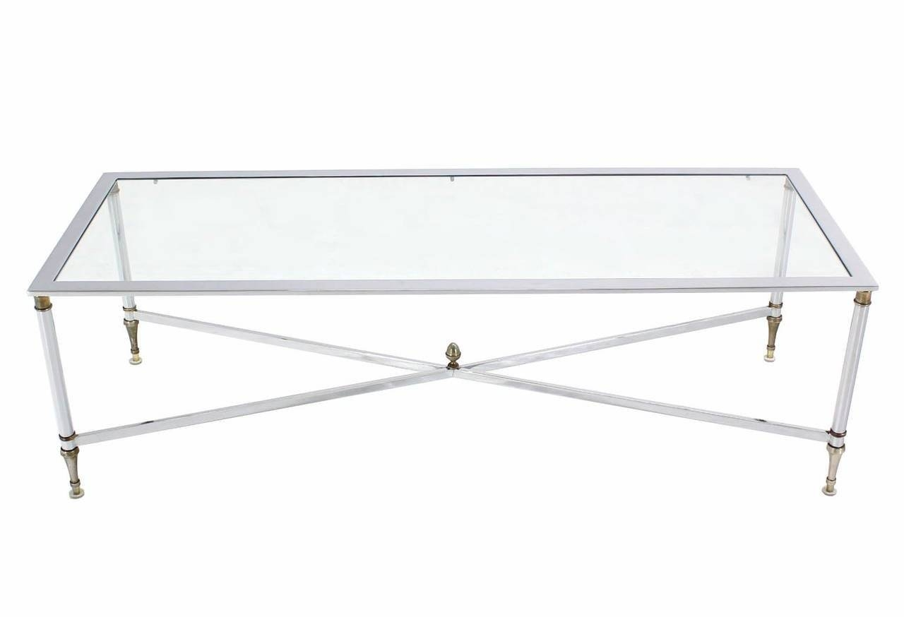 Chrome Brass X Base Glass Top Long Rectangle Coffee Table For Sale pertaining to Rectangle Glass Chrome Coffee Tables (Image 5 of 30)
