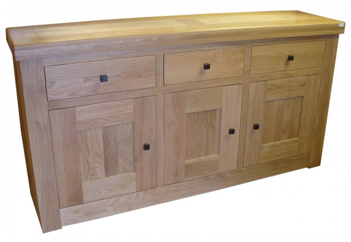 Chunky Oak 3 Door Sideboard intended for Light Oak Sideboards (Image 4 of 30)