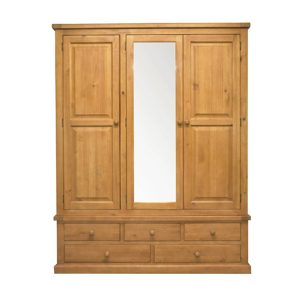 Chunky Pine Triple Wardrobe With Mirror throughout Triple Wardrobes With Mirror (Image 3 of 15)