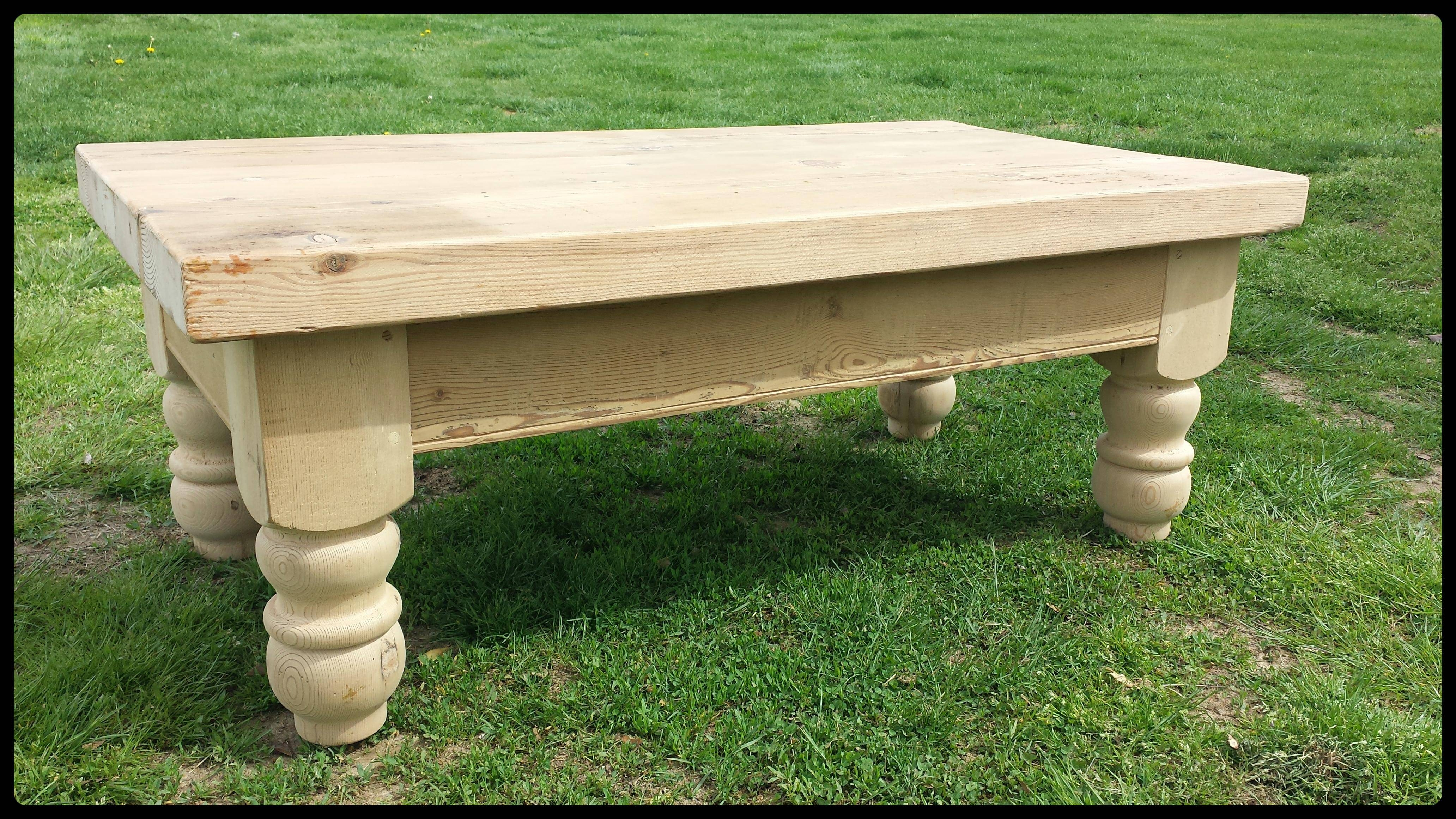 Chunky Unfinished Reclaimed Pine Coffee Table - Old Barn Star with Old Pine Coffee Tables (Image 6 of 30)