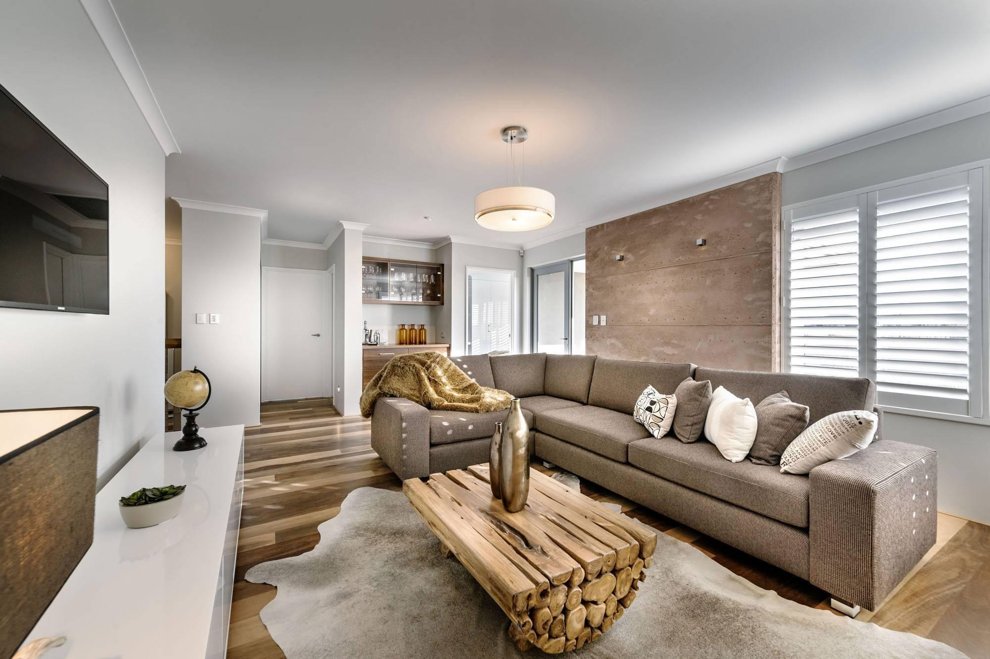Chunky Wood Coffee Table, Sofa, Rug, Modern Home In Wandi, Perth within Chunky Wood Coffee Tables (Image 3 of 30)