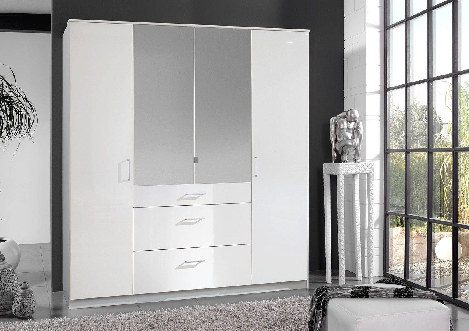 Clack High Gloss White 4 Door Mirrored Wardrobe in White Mirrored Wardrobes (Image 2 of 15)