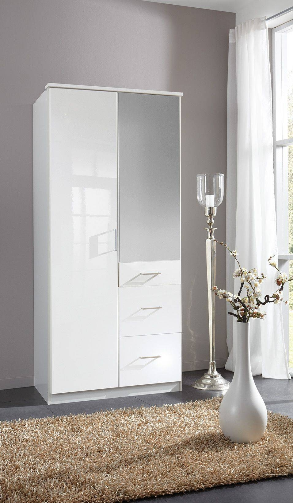 Clack High Gloss White Double Mirrored Wardrobe intended for High Gloss White Wardrobes (Image 2 of 15)