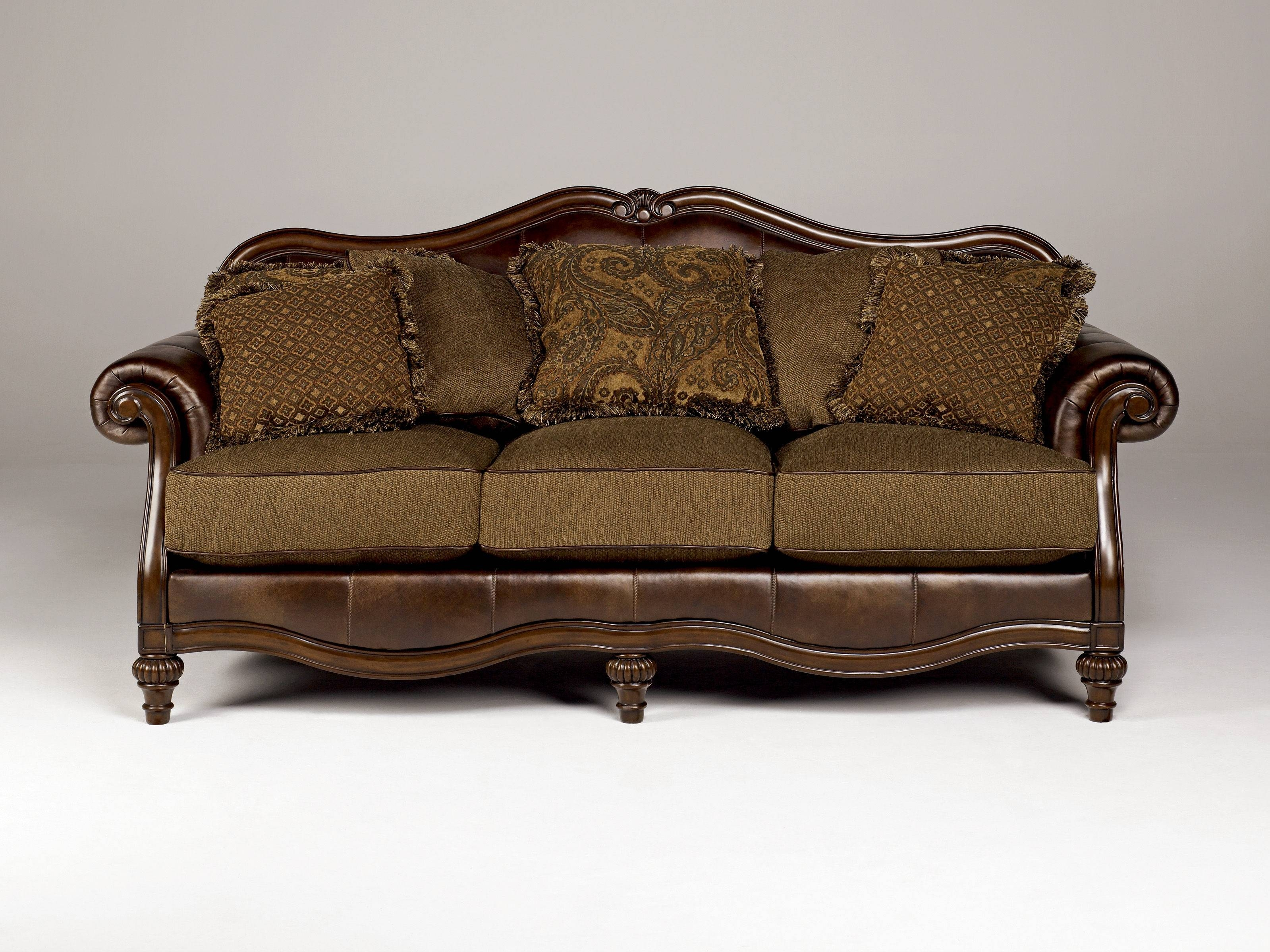Claremore Traditional Antique Fabric Sofa W/pillow Back | Living for Antique Sofa Chairs (Image 10 of 30)