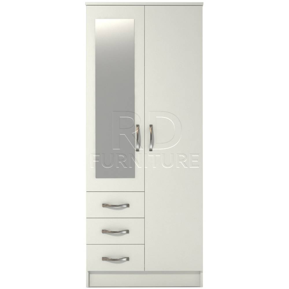 Classic 2 Door 3 Drawer Combi Short Mirrored Wardrobe White Finish Throughout 3 Door White Wardrobes With Drawers (View 4 of 15)